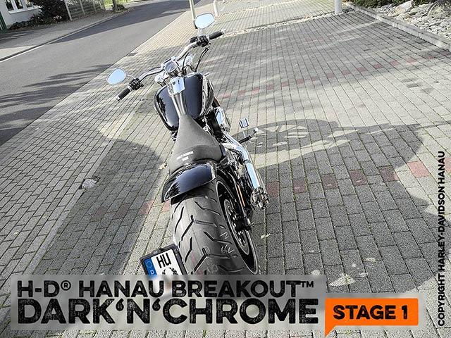 Softail Breakout Umbau zum Dark 'n' Chrome Stage 1 Custombike durchgeführt vom Customshop Harley-Davidson Hanau