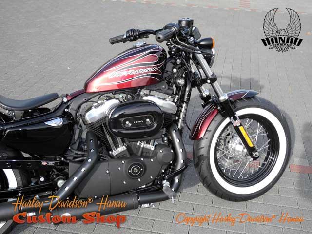 Sportster Forty-Eight Umbau Cherry Bomb 48 Custombike - Umbau von Harley-Davidson Hanau